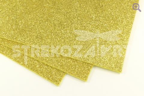 Фоамиран глиттерный  20*30, толщина 2мм, светлое золото