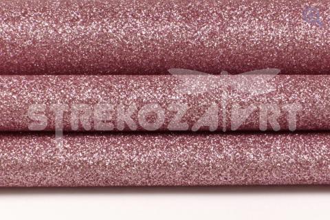 Искусственная кожа с глиттером 29*19см, цвет: розовый