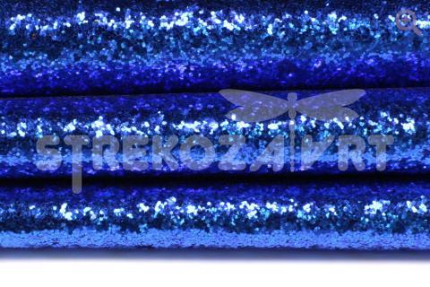 Искусственная кожа крупные блестки 29*19см, цвет: синий