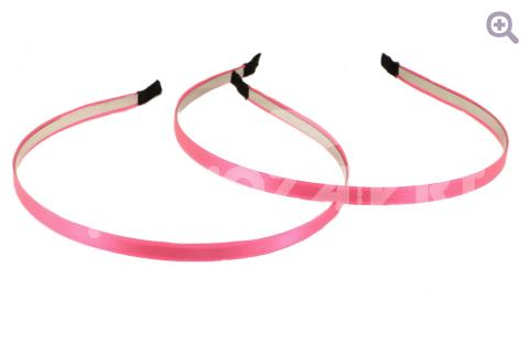 Ободок-основа металл/атлас 7мм, цвет: ярко-розовый