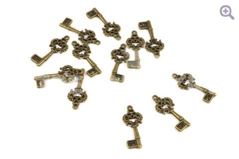 """Подвеска """"Винтажный ключ"""" 11*26мм, цвет: бронза"""