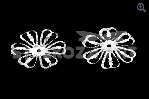 Шапочка для бусин Цветок 28мм, цвет: серебро