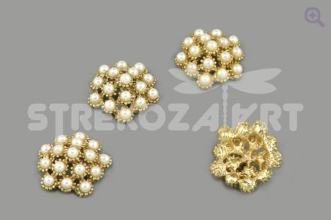 Украшение с жемчугом (пятигранник), 20мм, цвет: золото