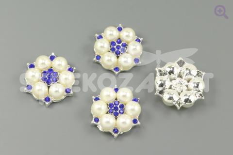 """Украшение """"Жемчужный цветок"""", 27мм, цвет: серебро (синяя серединка)"""