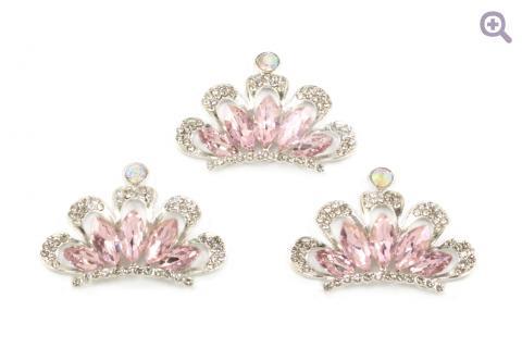 """Украшение со стразами """"Корона"""", 30*42мм, цвет: серебро (светло-розовая серединка)"""
