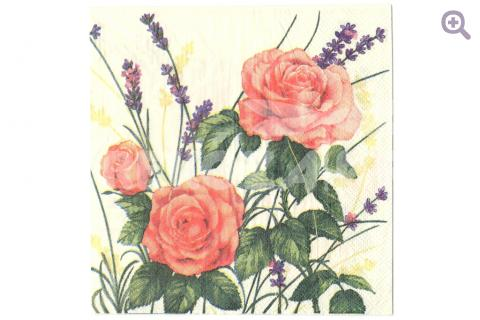 """Салфетка для декупажа 33*33см, 319 """" Розы и лаванда"""""""