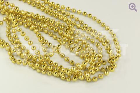 Новогоднее украшение Бусы 5мм*2,7м, цвет: золото