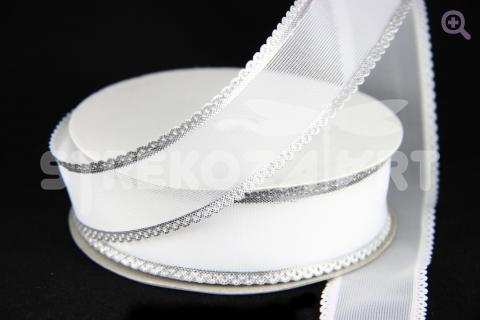 Лента декоративная 25мм, белая/серебро