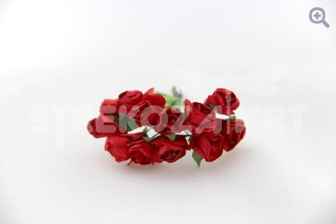 Букетик роз бумажных (d=15мм, 12 цветков на проволоке) красный