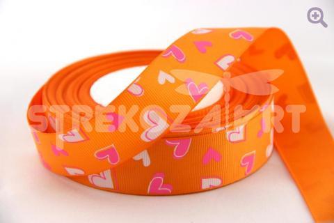 Лента репсовая с рисунком 25мм, рисунок: сердце цвет: оранжевый