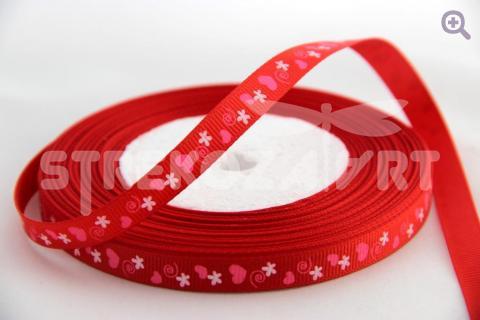 Лента репсовая с рисунком 10мм, цвет: красный
