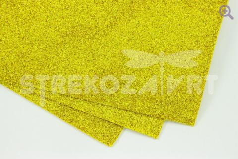 Фоамиран глиттерный  20*30, толщина 2мм, золото