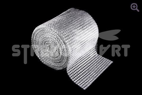 Стразовая лента (имитация страз) 12см=24ряда, цвет: серебро, 10см