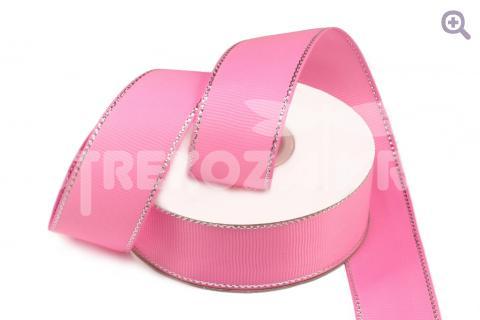 Лента репсовая с люрексом 40мм, цвет: розовый