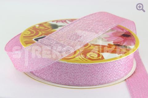 Лента парча 6мм, цвет: розовый