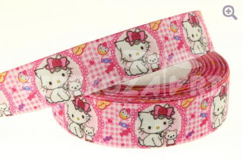 """Лента репсовая с рисунком 25мм, рисунок: """"Кошка"""" (на розовом фоне)"""